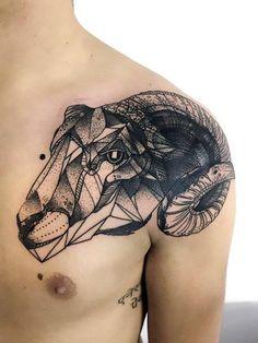 Black Geometric Ram Tattoo Idea