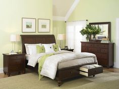 Aspen King Bedroom Set- our bedroom furniture Light Green Bedrooms, Light Green Walls, Green Rooms, Light Bedroom, White Bedroom, White Bedding, Casual Bedroom, Blue Bedrooms, Neutral Bedding