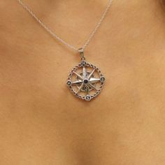 Outlander Inspired Compass Silver Pendant with Sapphire Coloured Stone   Scottish Jewellery