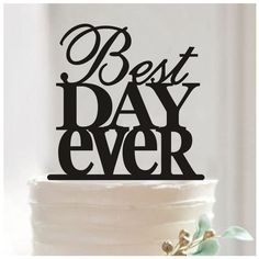 Aisila Acrylic Best Day Ever Cake Topper Black *** Unbelievable product is here! : baking decorations