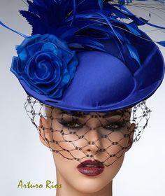 Royal Blue Fascinator, cocktail hat, Headpiece, Royal ascot hats,Melburne cup…