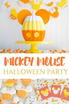 Mickey Mouse Halloween Party that includes fun Mickey pumpkins, Mickey cookies, DIY Mickey banners and more! Disney Halloween Parties, Disney Halloween Decorations, Halloween Birthday, Halloween Party Decor, Disney Parties, Mickey Birthday, Parties Kids, Disneyland Halloween, Halloween Themes