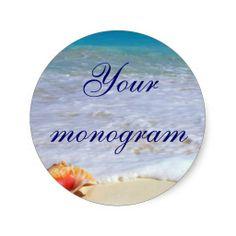 Beach Wedding Theme Envelope Seals Labels Sticker