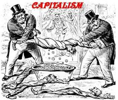 I'm not sure why this political cartoon was created but it is spot on with the principles of capitalism. The emaciated people that are having every last monetary value wrung out of them look like the emaciated jews that were forced to work in Nazi work camps in World War Two. In our capitalist world the money is controlled by a very small group of people who hold an enormous amount of power over the world.