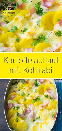 Potato and kohlrabi gratin - This delicious potato casserole with kohlrabi and ham is a tasty sattler for the whole family. Vegetarian Lifestyle, Vegetarian Options, Vegetarian Recipes, Healthy Recipes, Kohlrabi Recipes, Veggie Recipes, Kohlrabi Gratin, Chou Rave, Cooking On The Grill