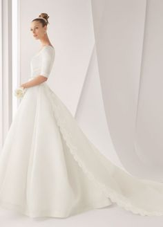 see details here:2012 Spring Style A-line Bateau Applique Half-Sleeve Floor-Length Satin White Wedding Dress For Brides