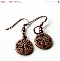 CIJ ChristmasInJuly Sale Copper Double Sided Tree by BijiJewelry, $12.60