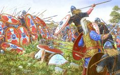 Roman shield wall against a barbarian charge. Late 4th century CE. Artwork by Igor Dzis
