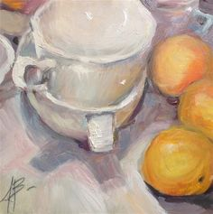 "Daily Paintworks - ""White Cups and Oranges"" - Original Fine Art for Sale - © Annette Balesteri"
