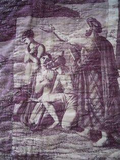 ANTIQUE FRENCH TOILE DE JOUY NANTES VALANCE LINEN 18 TH-CENTURY PELMET HORSE
