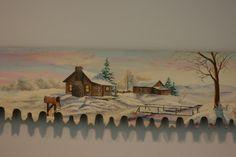 5' Crosscut Saw Winter Scene Log Cabin, Barn, Snowman,and Mailbox hand painted by sherrylpaintz