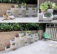 saw this at Home and Garden show!!!! Love it!!! so many ways to suit your needs. Cinder Block Planter Wall