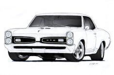 1967 Pontiac GTO Drawing by Vertualissimo.deviantart.com on @deviantART
