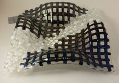 Fused Glass Black Iridescent Basket Weave and by DawnRiveraDesigns