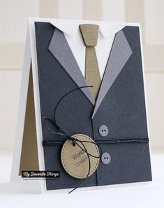 masculine Clearly Sentimental About Fathers, Linen Background, Blueprints 15 Die-namics, Suit and Tie Die-namics - Inge Groot Masculine Birthday Cards, Birthday Cards For Men, Handmade Birthday Cards, Masculine Cards, Greeting Cards Handmade, Boy Cards, Cute Cards, Suit Card, Fathers Day Cards