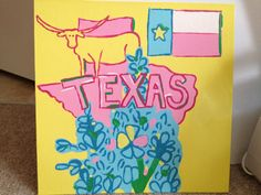 Lilly Pulitzer-style State of Mind Individual State Painting 12x12. $31.00, via Etsy.
