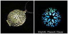 Glow in the dark locket, by Eighth Planet Glass