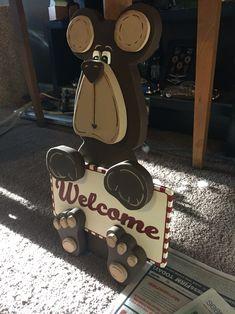Cute 3D bear welcome sign wood cutout!