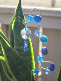 Blue Beaded Garden Stake by OneSimpleGift on Etsy