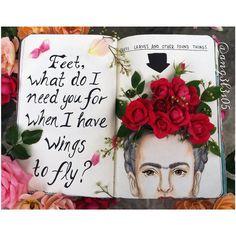 """Pies, para que los quiero si tengo alas para volar."" #wreckthisjournal#destrozaestediario#destruaestediario#destruaestediariofotos#dibujo#drawing#arte#art#illustration#illustracion#dibujodeldia#wtj#wreckthisjournalideas#kerismith#books#artsy#instaart#instagramart#floral#flowers#fridakahlo#mexican#wtjpages#artfido#birodrawing#creative#drawn"
