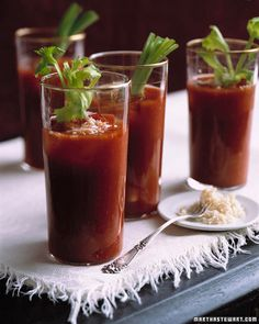 Bloodthirsty Marys - Martha Stewart Recipes (adults only)  note:  this recipe sounds awesome!