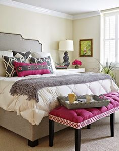 hot pink accent bedroom with gray and blue