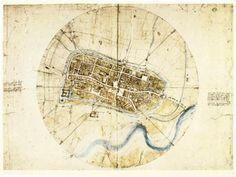 Map of Imola for Cesare Borgia, Leonardo Da Vinci