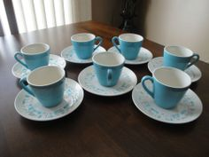 Vtg 'Royal China' Blue Heaven Cups & Saucers Retro Atomic Mid Century-14 Pieces