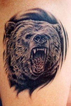 Realistic black roaring bear tattoo - Tattooimages.biz