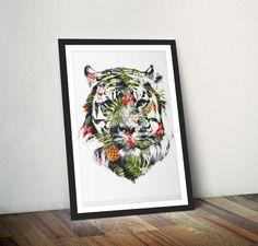 Tiger Print Tiger Wall Art Tiger Illustration Tiger by Wraptious
