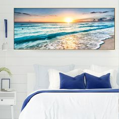 """Seascape Canvas Painting Modern Art Sunset View Picture For Livingroom Bedroom Fashion Romantic Beach Art Wall Home Decoration"" Love Wall Art, Beach Wall Art, Romantic Beach, Bedroom Styles, Modern Art, Sunset, Canvas, Decoration, Pictures"