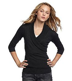 Product: A. Byer Juniors' Dark Gray Fine Gauge Shawl Collar Sweater