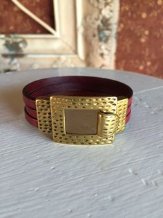 Leather Bracelet with Antiqued Gold Buckle Hook Clasp by RaeLynnJewelry on Etsy