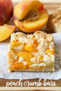 Peach Crumb Bars - a crumbly, soft and delicious bar topped with peaches and batter - perfect for the peach lover in the family! Delicious Desserts, Dessert Recipes, Yummy Food, Potluck Desserts, Bar Recipes, Fruit Recipes, Yummy Recipes, Tasty, Peach Pie Bars