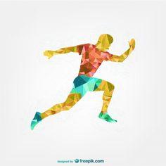 Soccer player geometric design  Free Vector