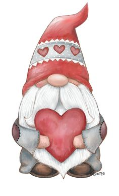 Christmas Gnome, Christmas Art, Christmas Decorations, Valentine Day Crafts, Holiday Crafts, Gnome Paint, Gnome Pictures, Illustration Noel, Crayon Art