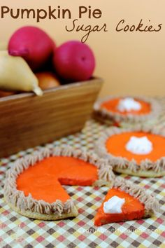 Have your little ones help you in the kitchen to make and decorate these adorable sugar cookies that are iced to look like mini pumpkin pies.