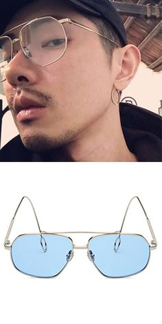 482ee6a1c60 2018 new fashion man sunglasses metal earring womens sunglasses vintage  yellow sunglasses oversized glasses frame 6 colors