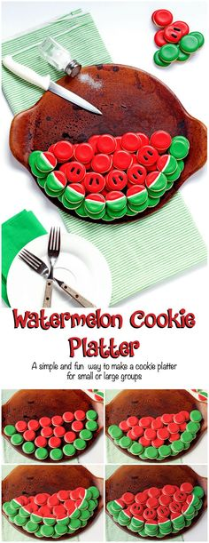 A Simple and Fun Watermelon Cookie Platter For a Small or Large Group by… Watermelon Cookies, Fruit Cookies, Iced Cookies, Cupcake Cookies, Watermelon Ideas, Frosted Cookies, Cupcakes, Flower Cookies, Cookie Pops