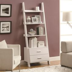 """Monarch Specialties I2562 69""""H Ladder Bookcase in White with 2 Storage Drawers"""
