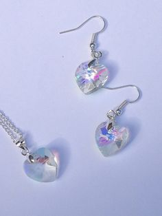 Crystal pendant crystal earrings crystal heart by BrowniesCRAFTBOX