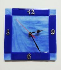 Fusing Blue Wall Clock Handmade silver Fused Glass Salon Bedroom azure Artist