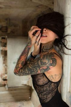 Amazing Sleeve Tattoos For Girl #tattoos #ink #tatuajes | caferacerpasion.com