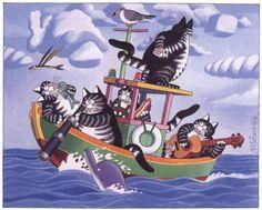 Many cats paintings. Bernard Kliban.