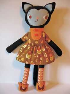 School Girl Kitty Soft Stuffed Cat Doll by whimsyvintage on Etsy
