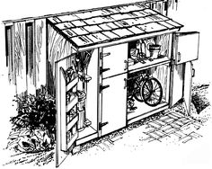 5 Vibrant Tricks: Garden Tool Shed Tiny House garden tool must have.Garden Tool Cleanses garden tool crafts tips.Garden Tool Shed Wood Pallets. Bicycle Storage Shed, Outdoor Storage Sheds, Bike Shed, Outdoor Sheds, Shed Storage, Garden Gazebo, Lawn And Garden, Garden Tools, Barn Style Shed