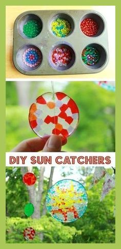 DIY Sun Catchers -- A ton of DIY super easy kids crafts and activities for boys . - DIY Sun Catchers -- A ton of DIY super easy kids crafts and activities for boys and girls! Quick, cheap and fun projects for toddlers all the way to t. Summer Crafts For Kids, Crafts For Kids To Make, Easy Diy Crafts, Jar Crafts, Kids Diy, Simple Crafts, Craft Ideas For Teen Girls, Arts And Crafts For Kids Toddlers, Arts And Crafts For Kids Easy