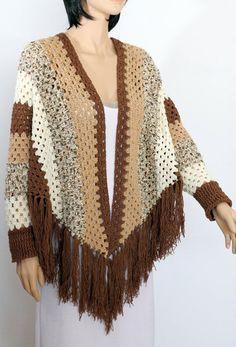 Crochet Sleeved Poncho pattern, poncho cape pattern, shawl pattern, striped…