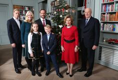 King Harald and Queen Sonja of Norway, Crown Princess Mette-Marit and Crown Prince Haakon of Norway, Princess Ingrid Alexandra, Prince Sverre Magnus, Marius Borg Hoiby attend Christmas photo session at Skaugum the residence of the Crown Prince and Crown Princess of Norway in Asker, Norway on December 14, 2015.