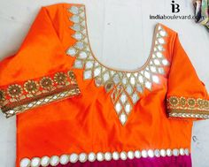 Beating Monday blues with a lovely bright orange mirror work blouse. How…